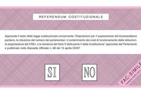 referendum costituzionale scheda