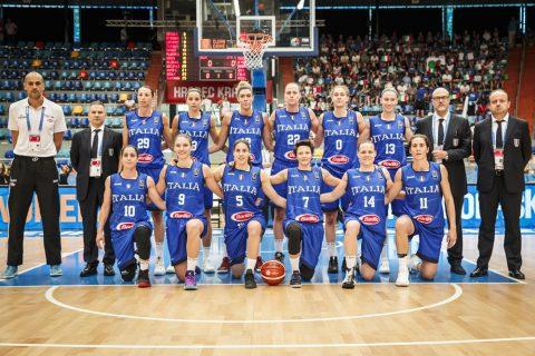 La nazionale di basket femminile al gran completo. Europei