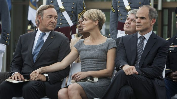 Spacey Wright e Kelly in House of Cards stagione 1
