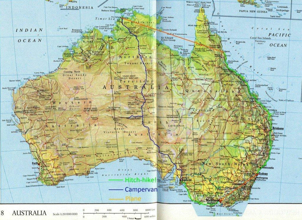 Australia itinerario di attraversamento