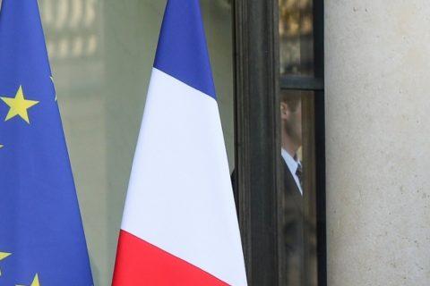 le bandiere della Francia e dell'Europa