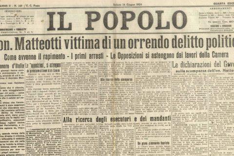 la prima pagina de Il Popolo che denuncia il delitto Matteotti
